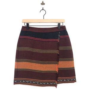 Loft Striped Tribal Fringe Blanket Skirt 4P
